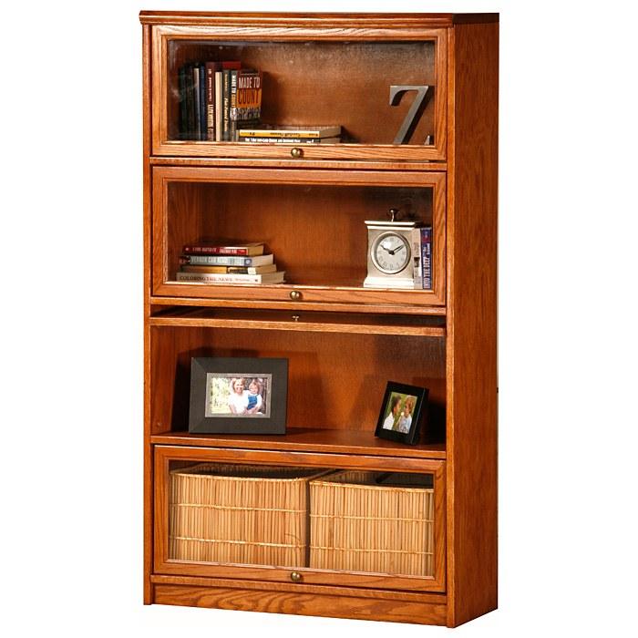 Classic Oak Promo 4 Tier Lawyer Bookcase Glass Doors