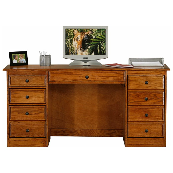 Classic Oak Double Pedestal Computer Desk - 9 Drawers - EGL-10253