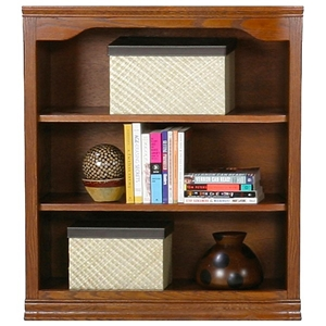 "Classic Oak Bookcase - Curved Molding, 3 Shelves, 36"" Tall"