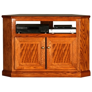 "Classic Oak 46"" Corner TV Cabinet - 1 Shelf, 2 Doors"