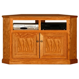 "Classic Oak 50"" Tall Corner TV Cabinet - 2 Shelves, 2 Doors"