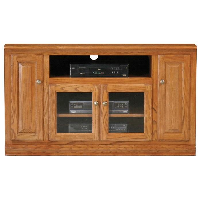 Classic Oak Thin 55 TV Cabinet 1 Open Shelf 2 Glass Doors DCG Stores