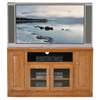"Classic Oak Thin 55"" TV Cabinet - 1 Open Shelf, 2 Glass Doors - EGL-46855"