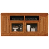 "Classic Oak Thin 66"" TV Cabinet - 2 Open Shelves, 2 Glass Doors - EGL-46866"