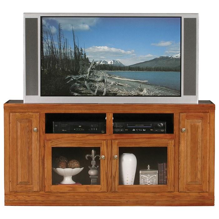 Classic Oak Thin 66 Quot Tv Cabinet 2 Open Shelves 2 Glass