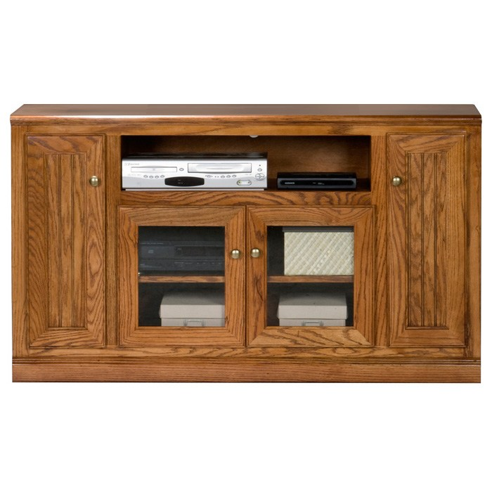 "Heritage Thin 55"" TV Console - Bead Board, Glass, Oak Wood - EGL-47555"