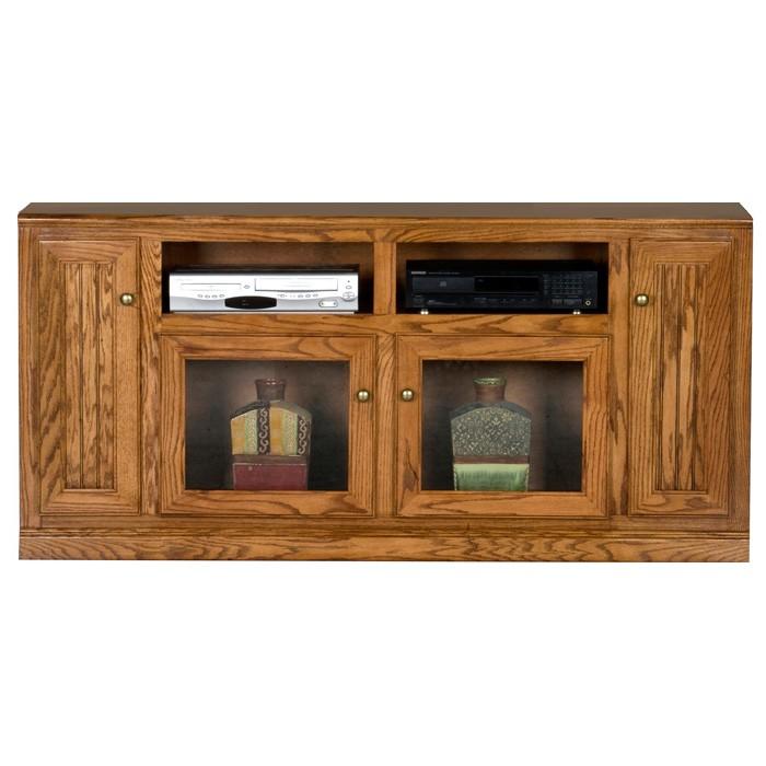 Heritage Thin 66 Quot Tv Console Bead Board Glass Oak Wood