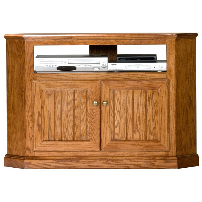Heritage 46 Quot Tall Corner Tv Cabinet Bead Board Oak Wood