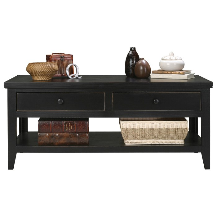 Coastal Wooden Coffee Table - 2 Drawers, Bottom Shelf - EGL-72303-75303