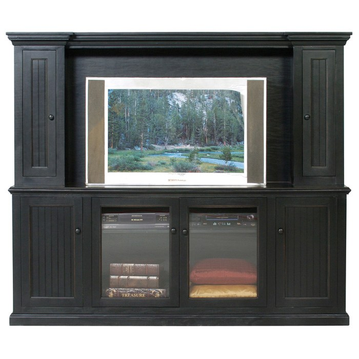 Coastal Entertainment Center - 4 Bead Board Doors, 2 Glass Panels - EGL-CSTL-EC-4W2G