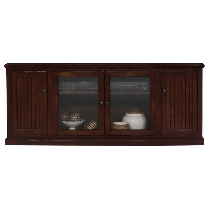 "Coastal Thin 79"" Entertainment Cabinet - Bead Board, Glass Panels - EGL-72580"