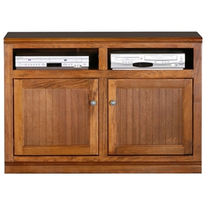"Coastal 45"" TV Cabinet - Bead Board Doors, 2 Open Shelves"