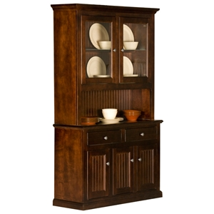 Coastal 3-Door Buffet Table & Hutch - 2 Glass Panels