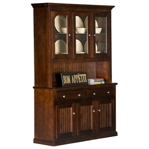 Coastal 3-Door Buffet Table & Hutch - 3 Glass Panels