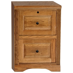Oak Ridge 2-Drawer File Cabinet - Raised Panels, Fluting
