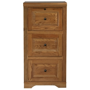 Oak Ridge 3-Drawer File Cabinet - Raised Panels, Fluting