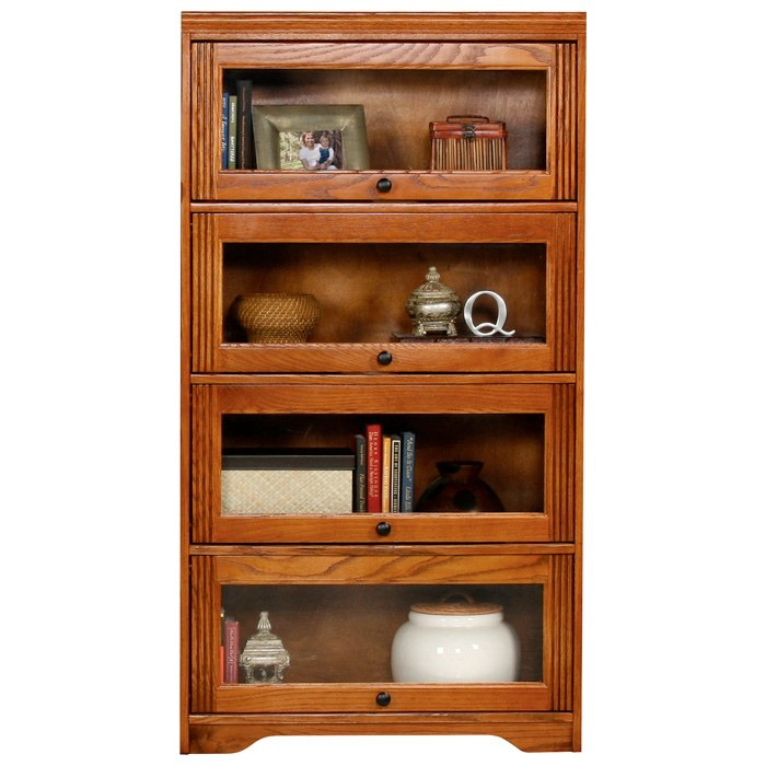 Oak Ridge 4-Door Lawyer Bookcase - Glass Doors, Fluting - EGL-93394