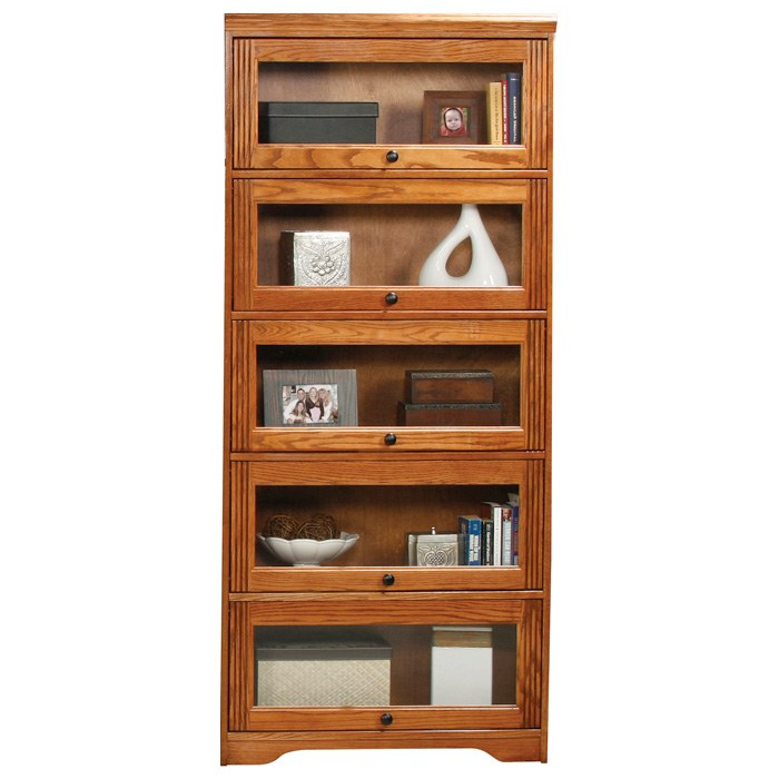 Oak Ridge 5-Door Lawyer Bookcase - Glass Doors, Fluting - EGL-93395