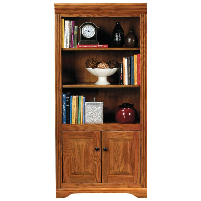 Oak Ridge 3-Shelf Bookcase - Fluting, Raised Panel Doors - EGL-93460