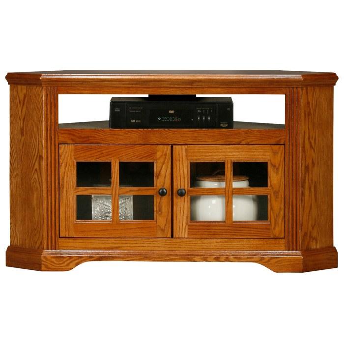 """Oak Ridge 40"""" Corner TV Console Windowpane Glass Doors"""