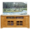 "Oak Ridge Thin 66"" TV Console - Raised Panels, Glass, Fluting - EGL-93866"