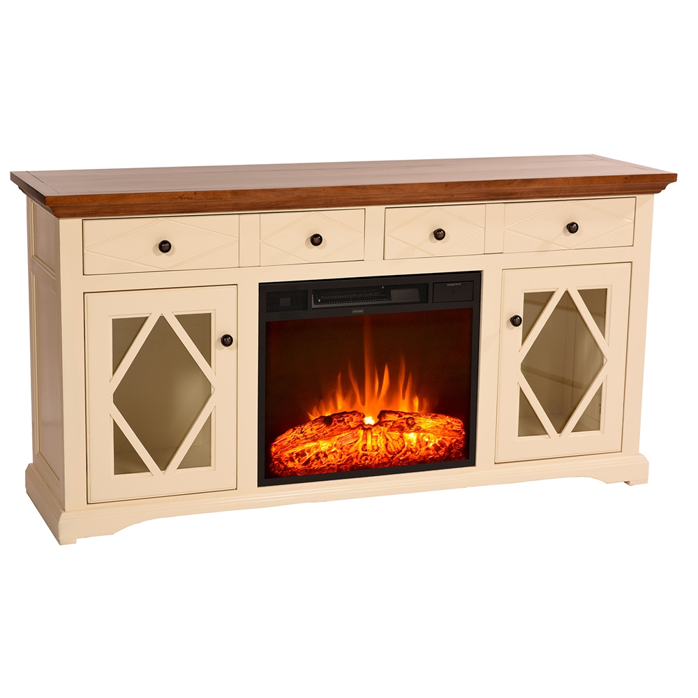 63 Quot Shelter Bay Electric Fireplace Tv Console 2 Drawers
