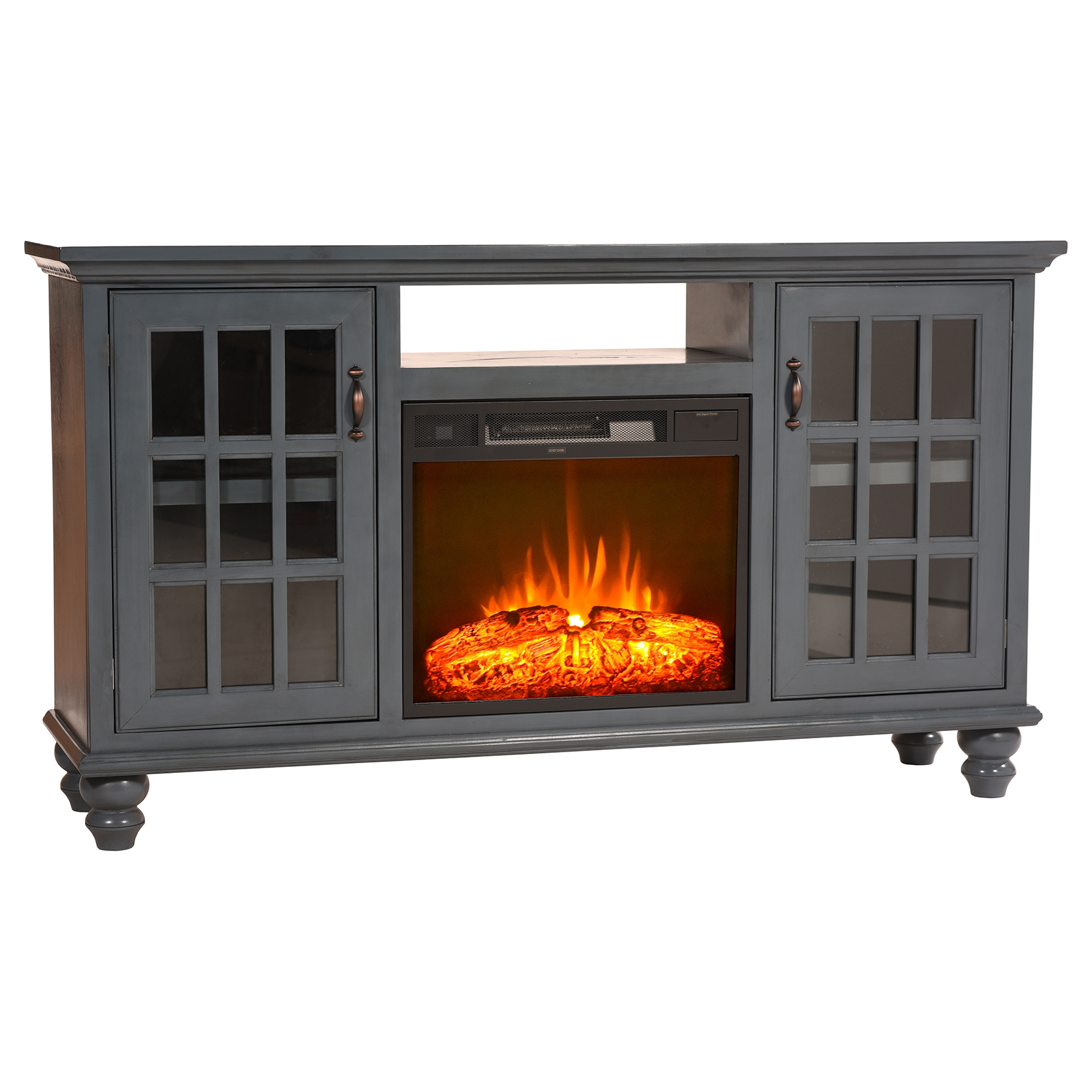 """65"""" Modern Country Electric Fireplace TV Console 2 Doors"""