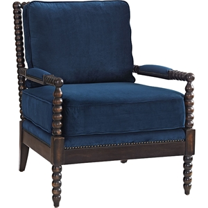 Revel Upholstered Fabric Armchair - Nailhead, Dark Espresso