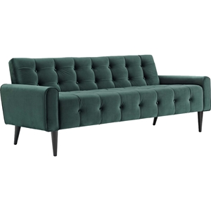 Delve Velvet Sofa - Button Tufted, Emerald Green