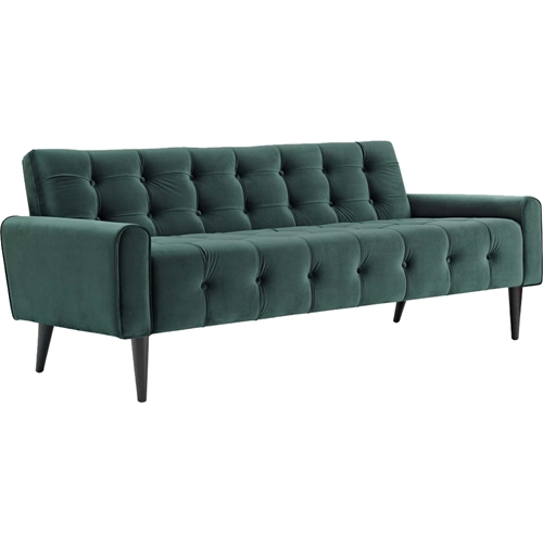 Delve velvet sofa button tufted emerald green dcg stores for Button tufted velvet chaise settee green