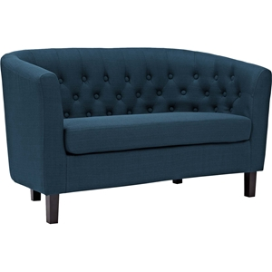 Prospect Upholstered Fabric Loveseat - Button Tufted, Espresso Legs