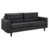 Empress Tufted Bonded Leather Sofa - Black - EEI-1010-BLK
