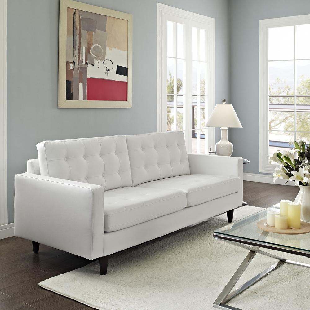 Impressive White Bonded Leather Sofa 3 White Leather: Empress Tufted Bonded Leather Sofa - White