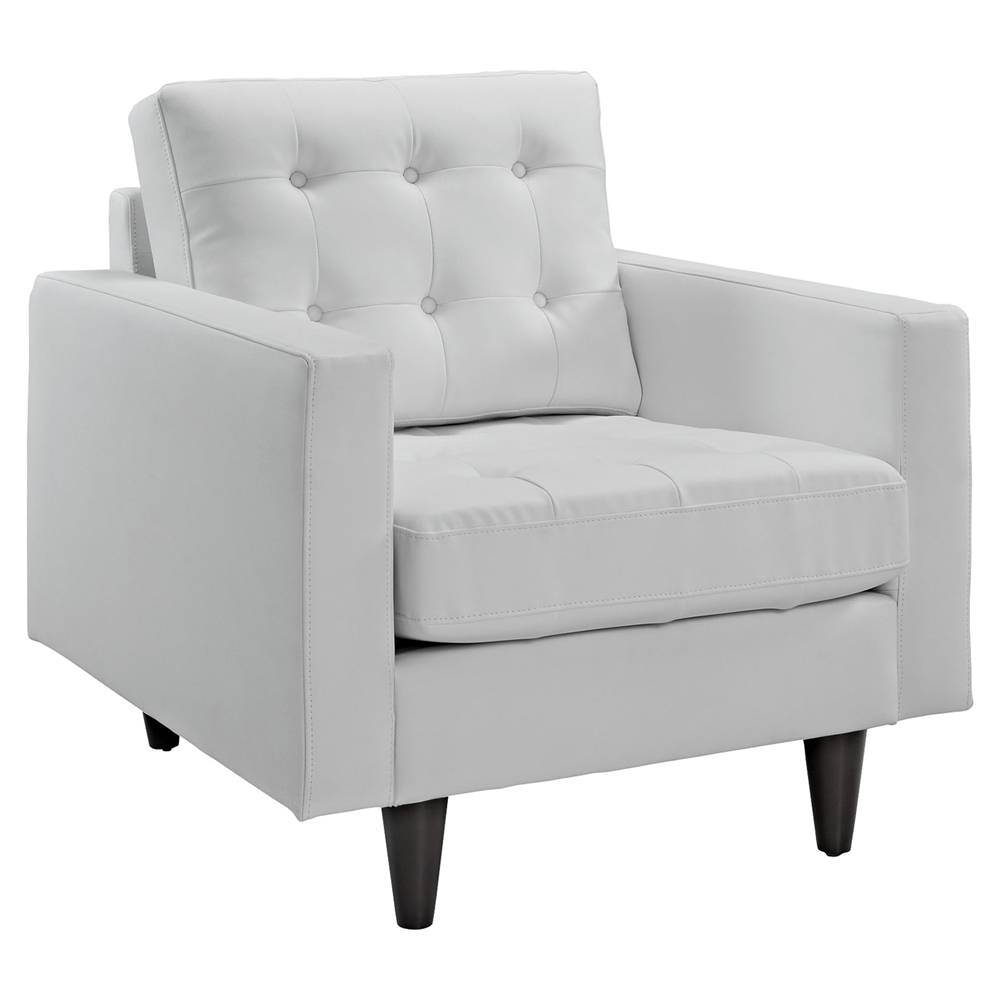 Empress Tufted Bonded Leather Armchair White Dcg Stores