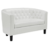 Prospect Leatherette Loveseat - Button Tufted, White - EEI-1043-WHI