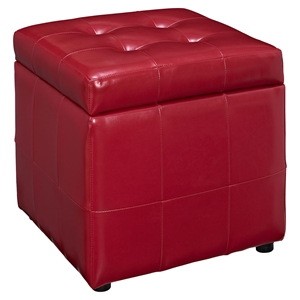 Volt Storage Tufted Ottoman - Red