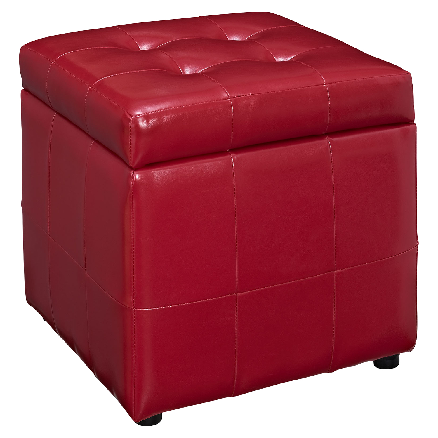 Volt Storage Tufted Ottoman - Red - EEI-1044-RED