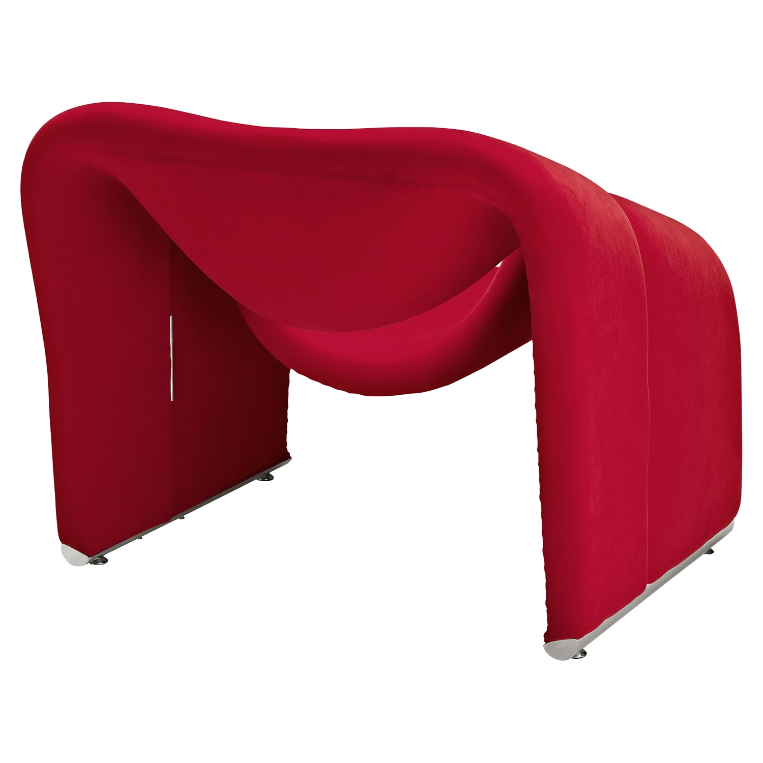 Cusp Upholstery Lounge Chair - Red - EEI-1052-RED