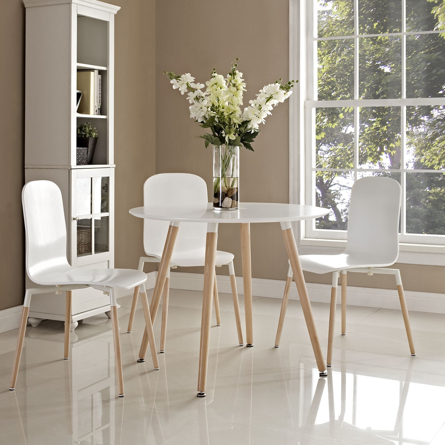 Track Circular Dining Table - White - EEI-1055-WHI