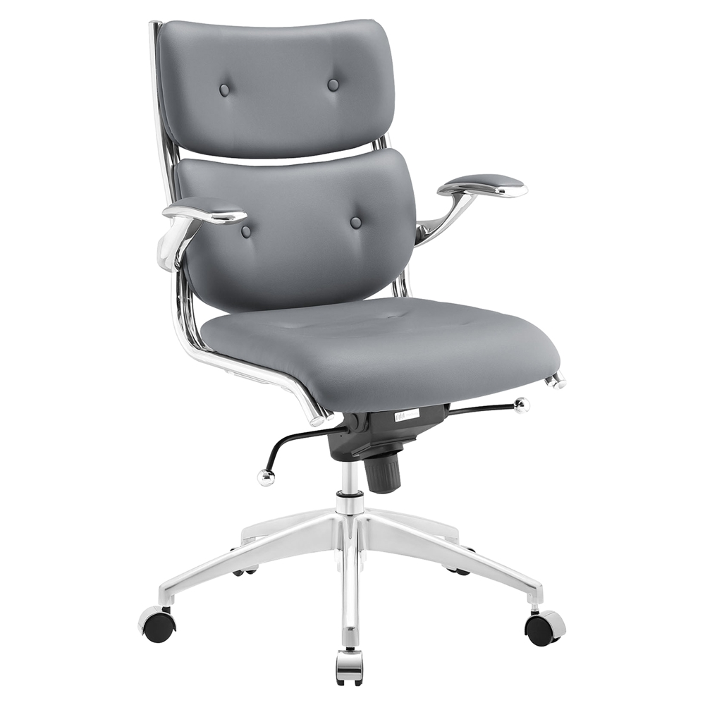 Push Mid Back Office Chair Adjustable Height Swivel