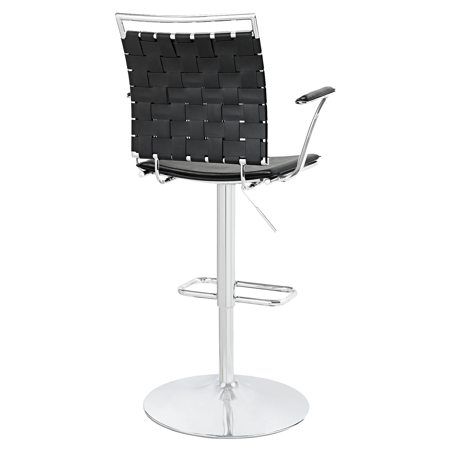 Fuse Adjustable Bar Stool - Swivel, Armrest, Black - EEI-1110-BLK