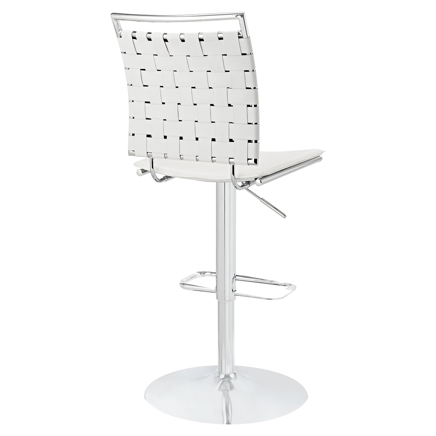 Fuse Adjustable Armless Bar Stool - White, Swivel - EEI-1111-WHI