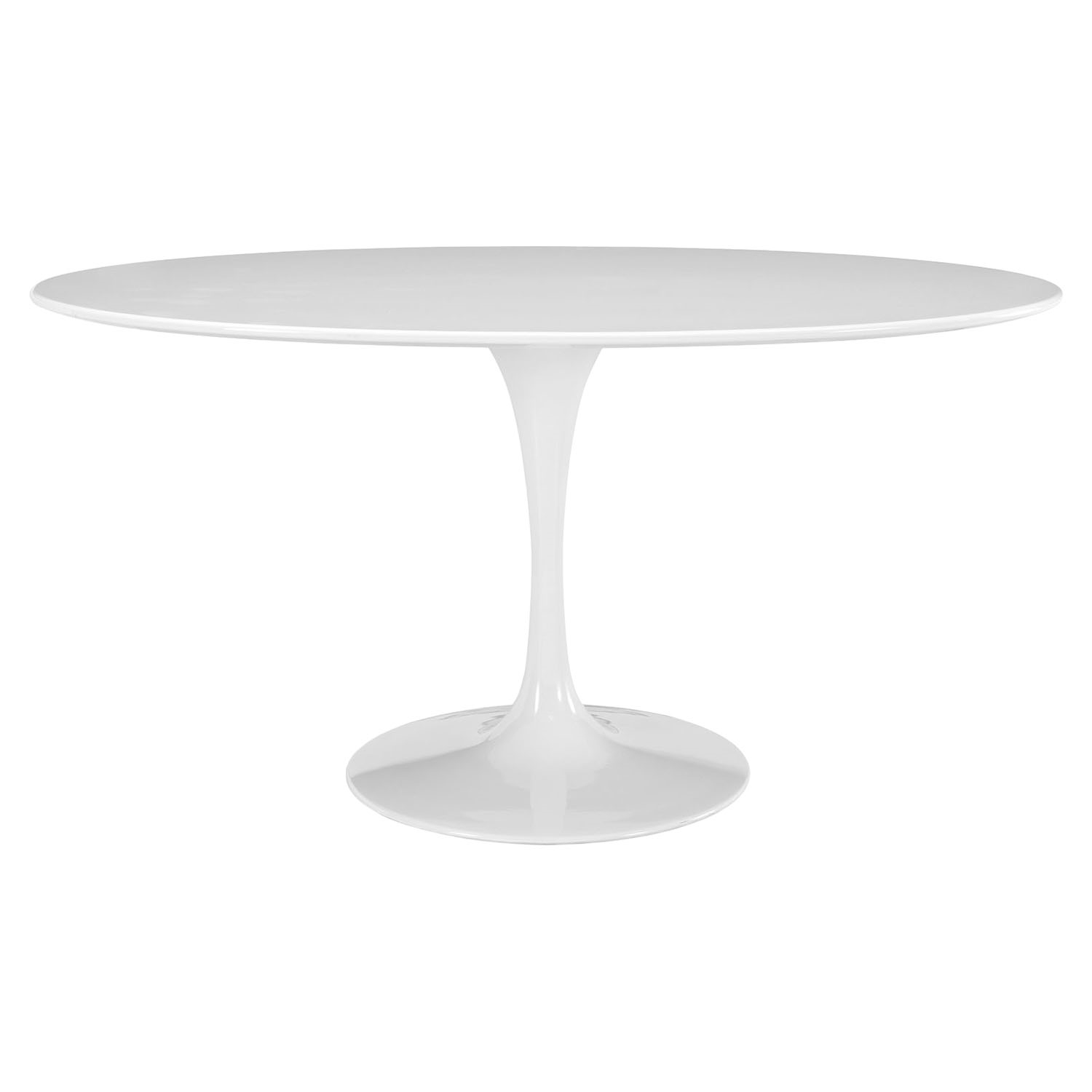 "Lippa 60"" Wood Top Dining Table - Oval, White - EEI-1121-WHI"