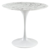 "Lippa 40"" Artificial Marble Dining Table - Round, White - EEI-1130-WHI"