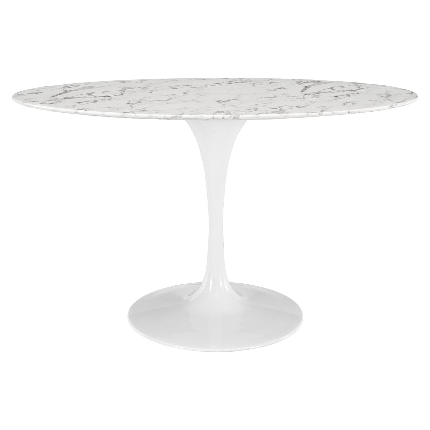 "Lippa 54"" Oval Shaped Dining Table - Artificial Marble Top - EEI-1134-WHI"