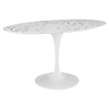 "Lippa 60"" Oval Shaped Dining Table - Artificial Marble Top - EEI-1135-WHI"