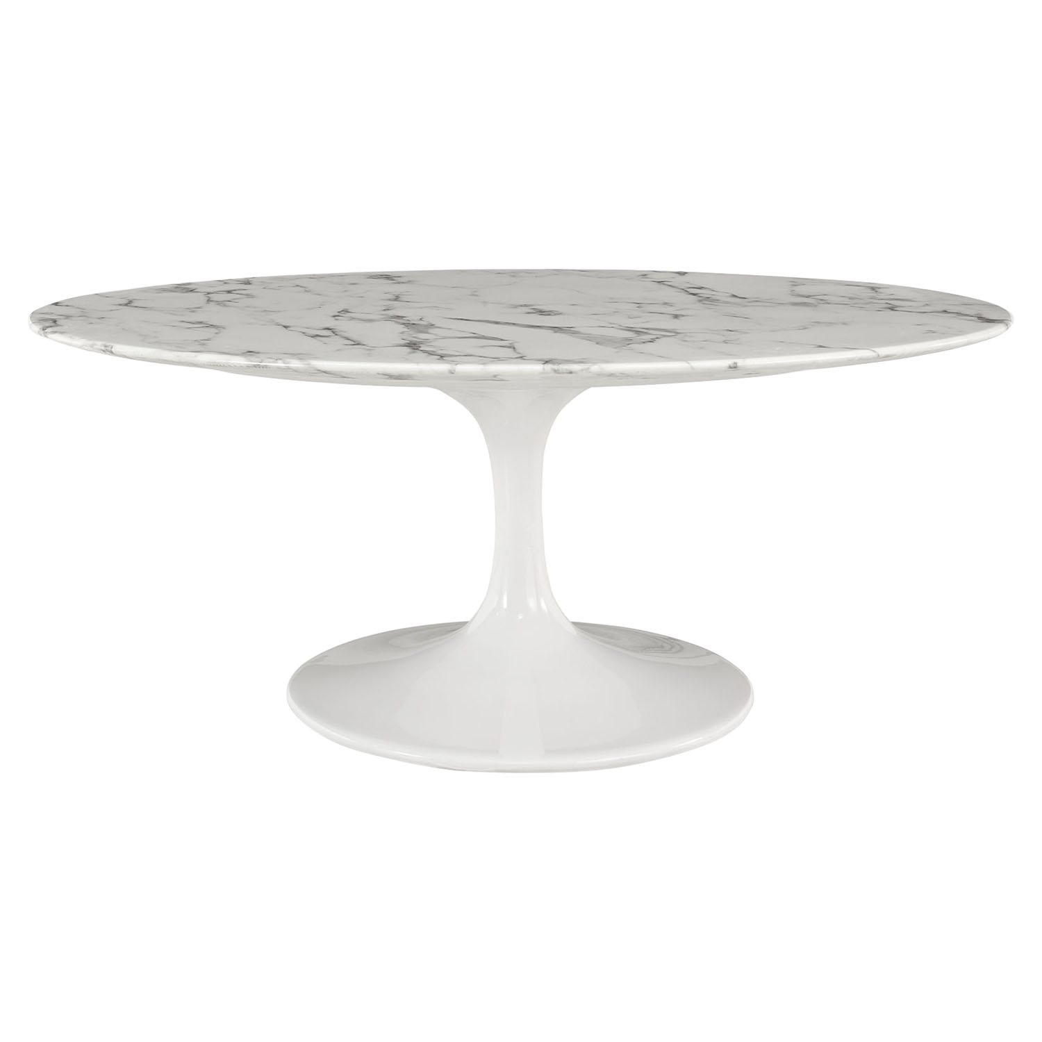 "Lippa 42"" Oval Shaped Coffee Table - Artificial Marble Top - EEI-1140-WHI"