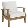 Marina Outdoor Patio Teak Armchair - Natural/White - EEI-1143-NAT-WHI-SET