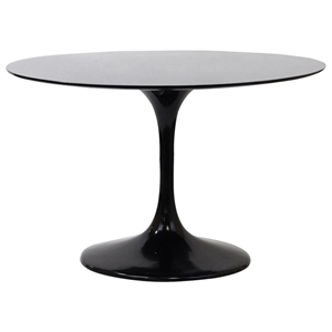 Lippa Saarinen Inspired Fiberglass Round Dining Table in Black