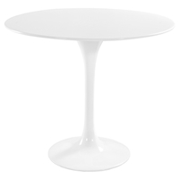 Lippa Saarinen Inspired Fiberglass Round Dining Table in White